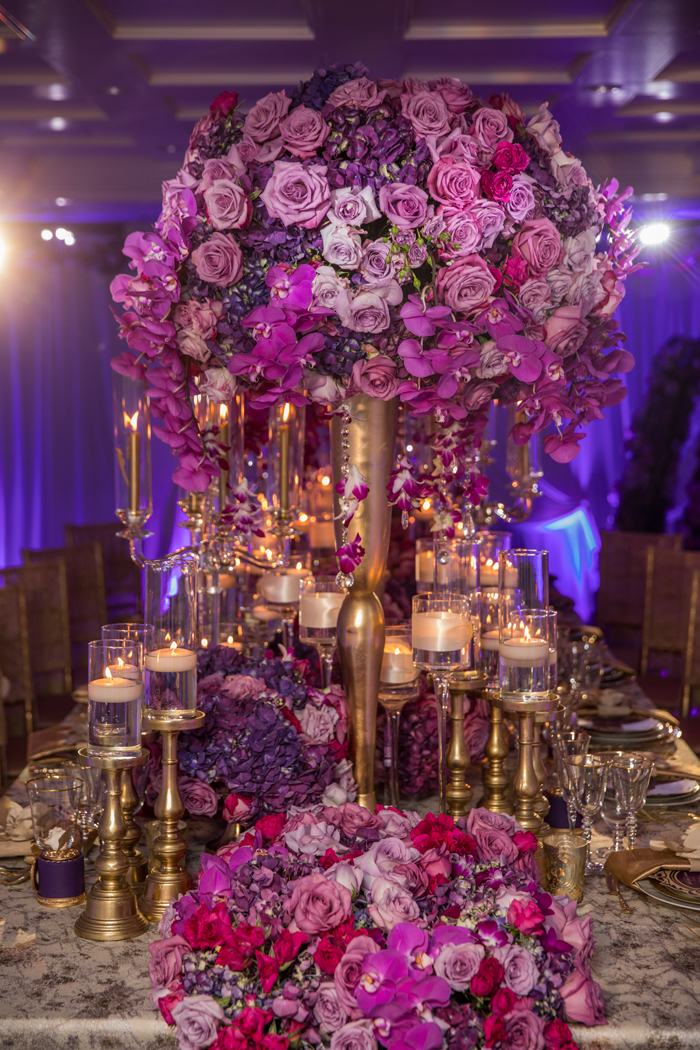 Pantone Color of the Year 2018 Ultra Violet wedding ideas purple flower centerpiece