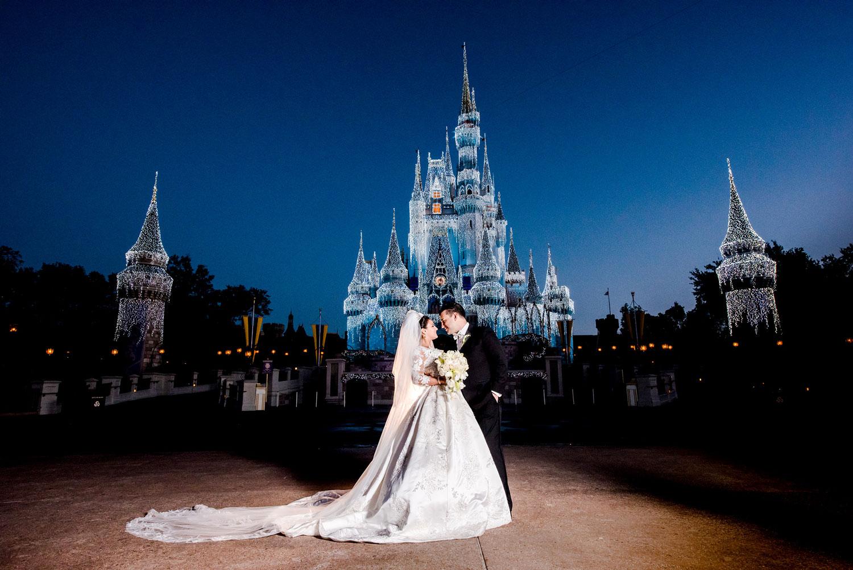 Disney's Fairy Tale Weddings Holiday Magic couple at Disney World Resort