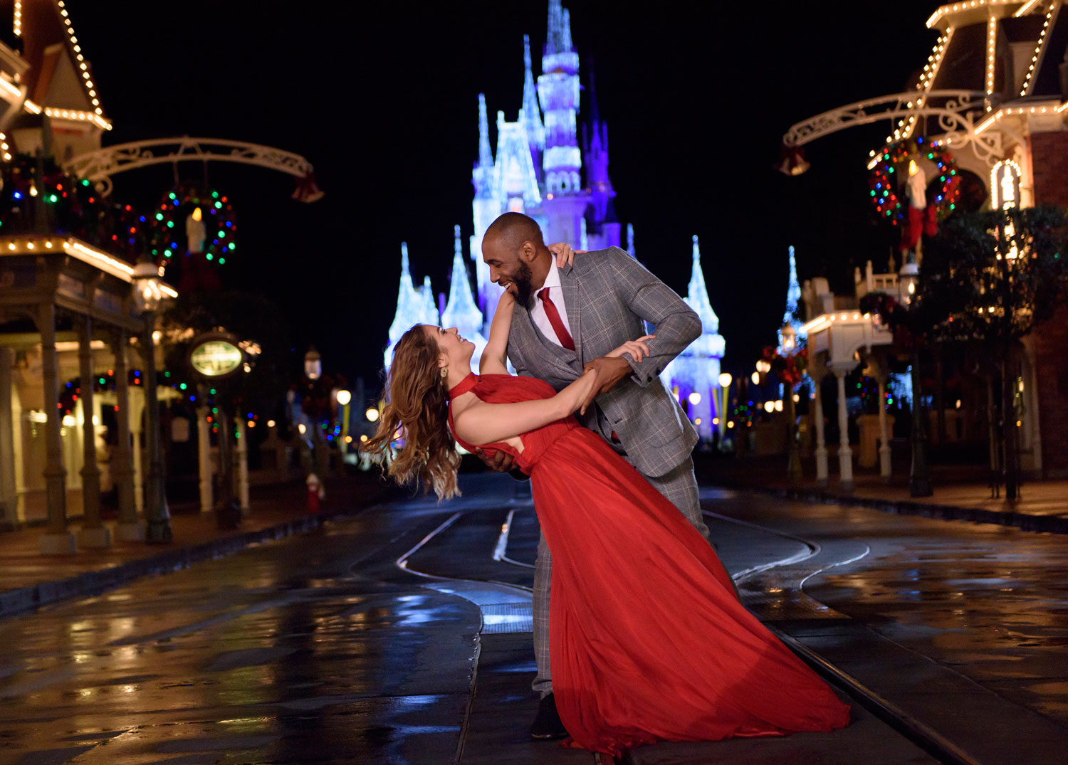 tWitch and Allison Holker hosts of Disney's Fairy Tale Weddings: Holiday Magic