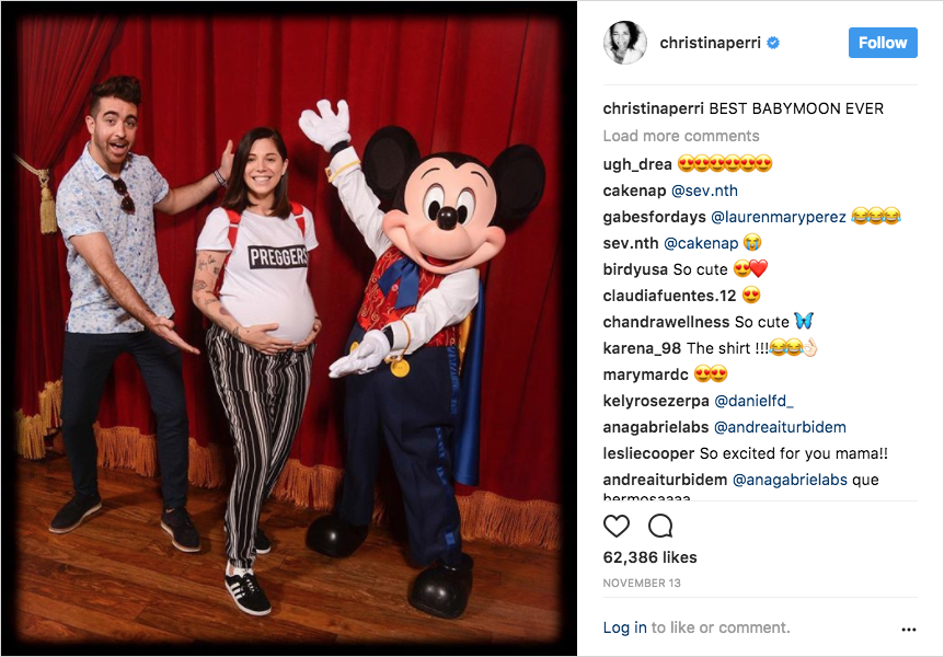 pregnant christina perri and paul costabile with mickey mouse disney world babymoon