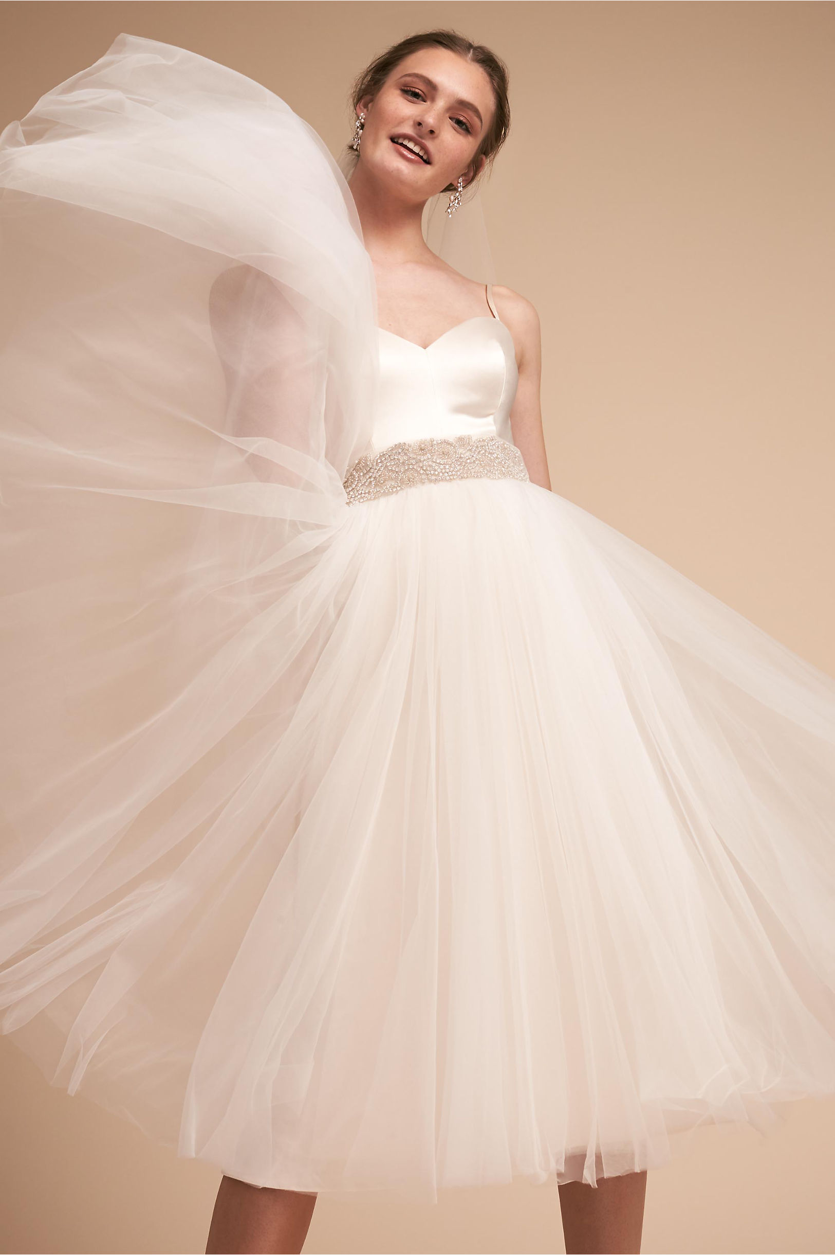 Camilla short cocktail wedding dress sweetheart neckline thin straps catherine deane bhldn spring 2018