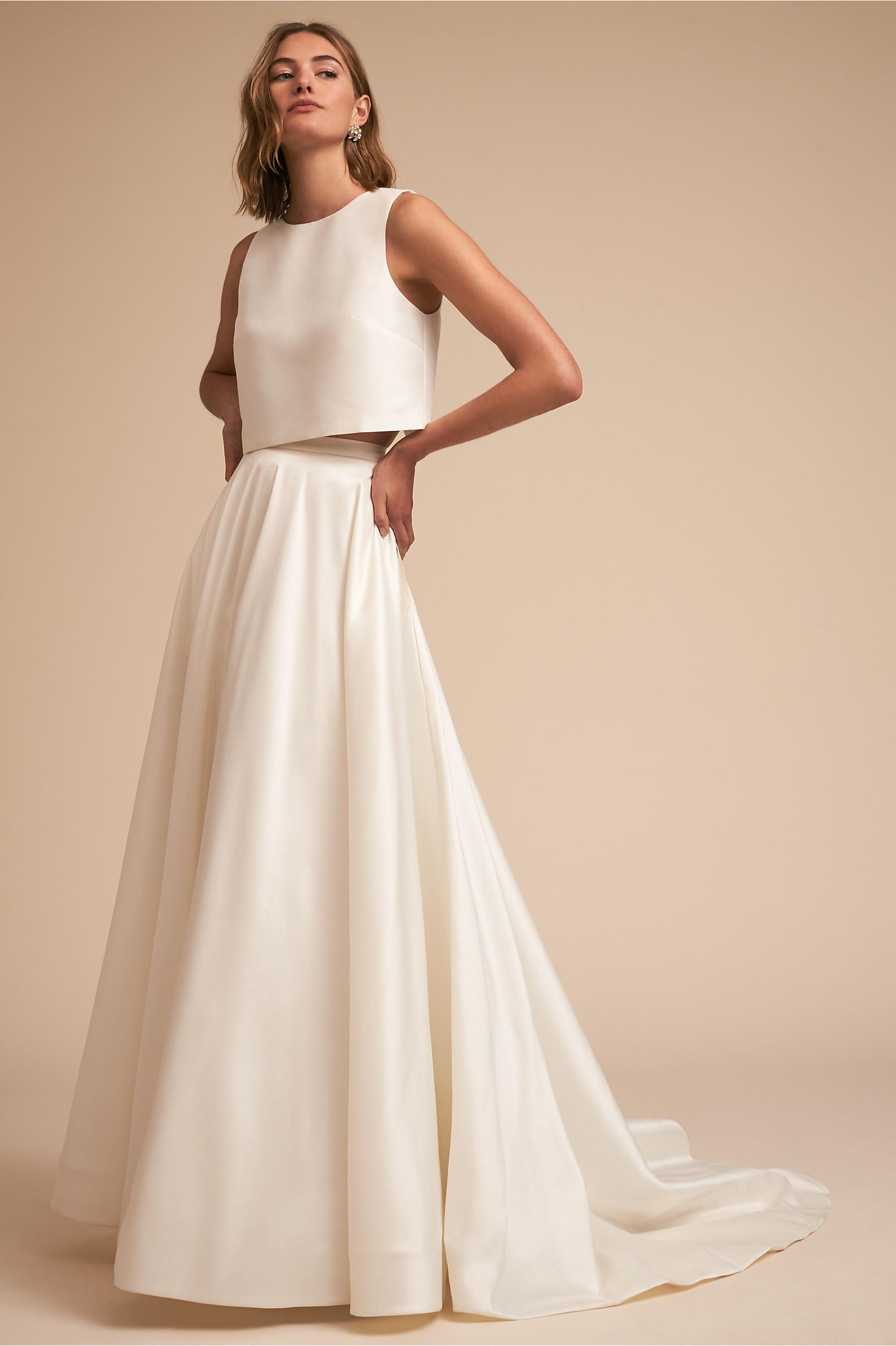 Clarice crop top silk and Marissa line skirt whispers and echoes two piece gown bhldn spring 2018