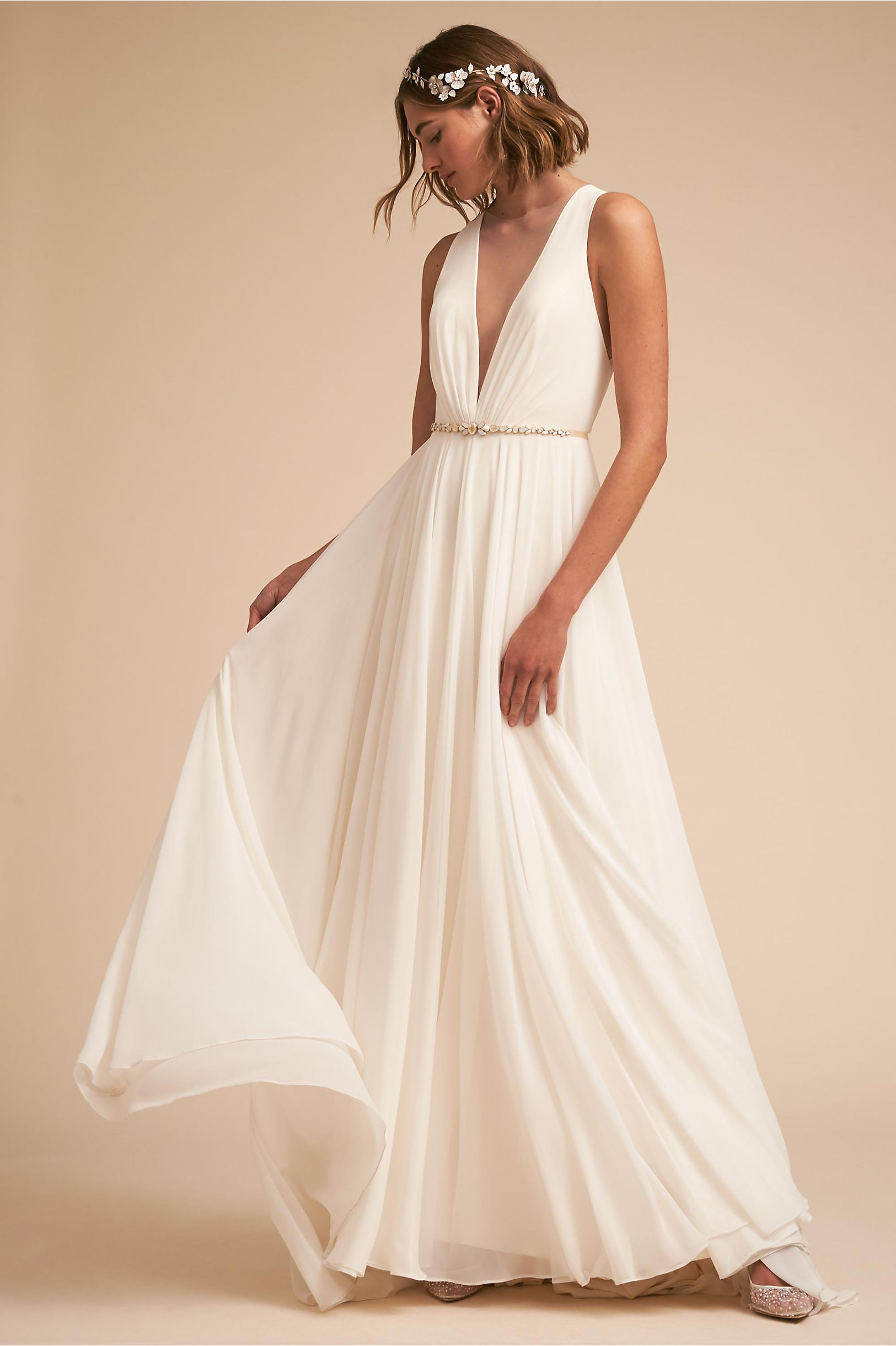 Conrad sleeveless wedding dress plunging neckline a line skirt jenny by jenny yoo bhldn spring 2018
