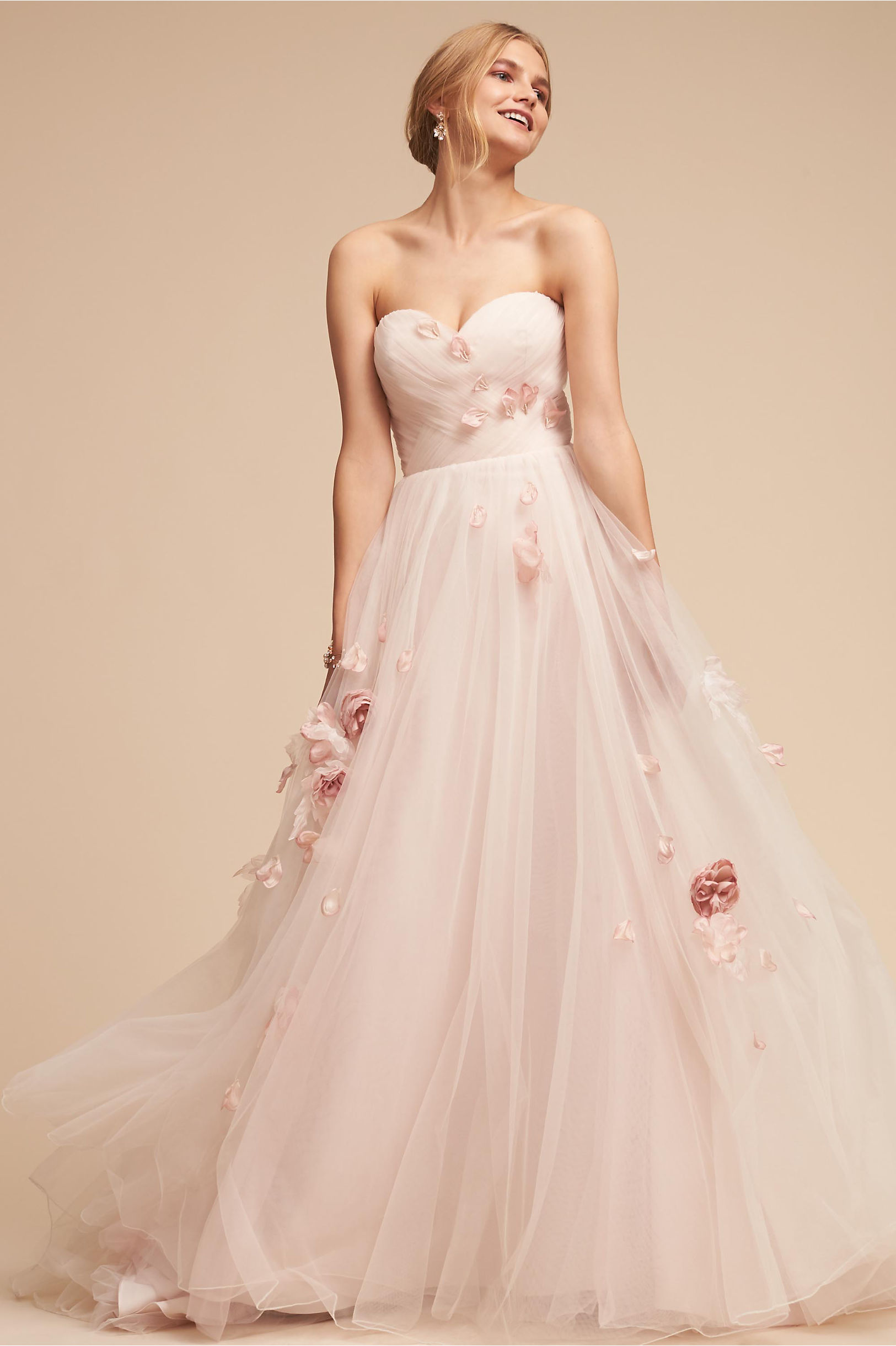 Eloise strapless pink ball gown tulle flower details whispers and echoes bhldn spring 2018
