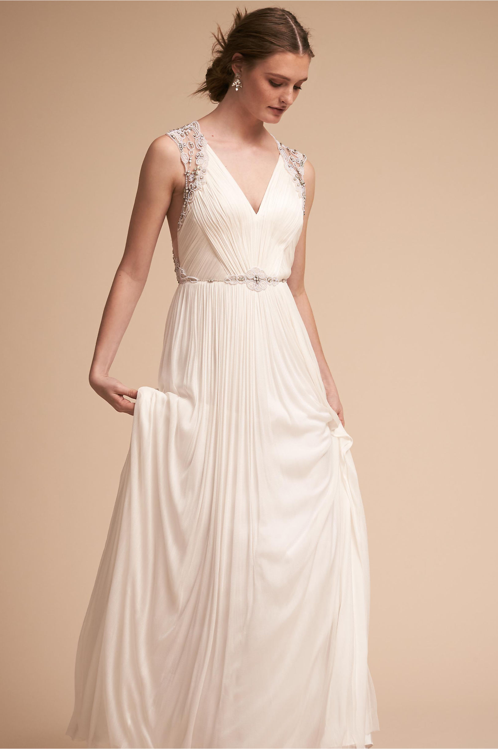Friday wedding dress ruched bodice with cross back and flowing skirt catherine deane bhldn spring 2018