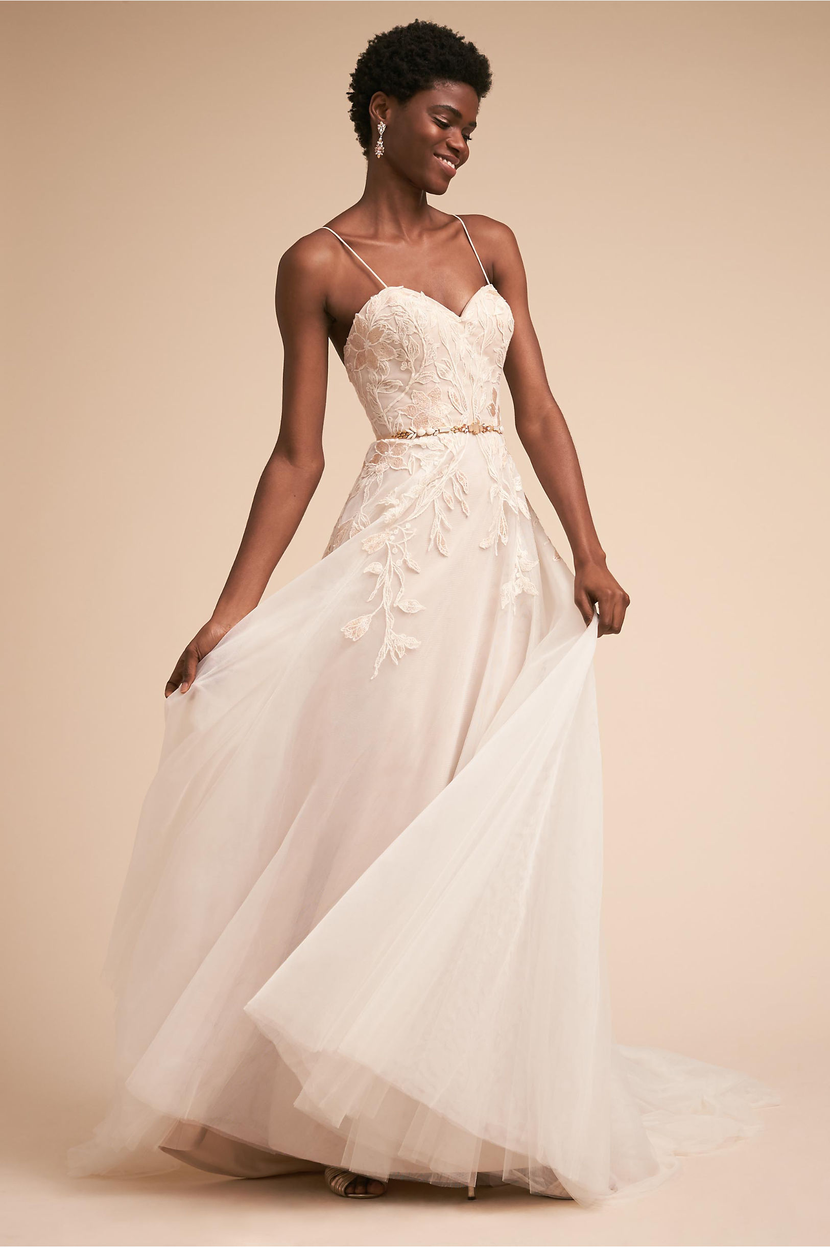 "d04a2c52a73 Guinevere a line wedding dress flower embellishments sweetheart neck ti  adora bhldn spring 2018 """