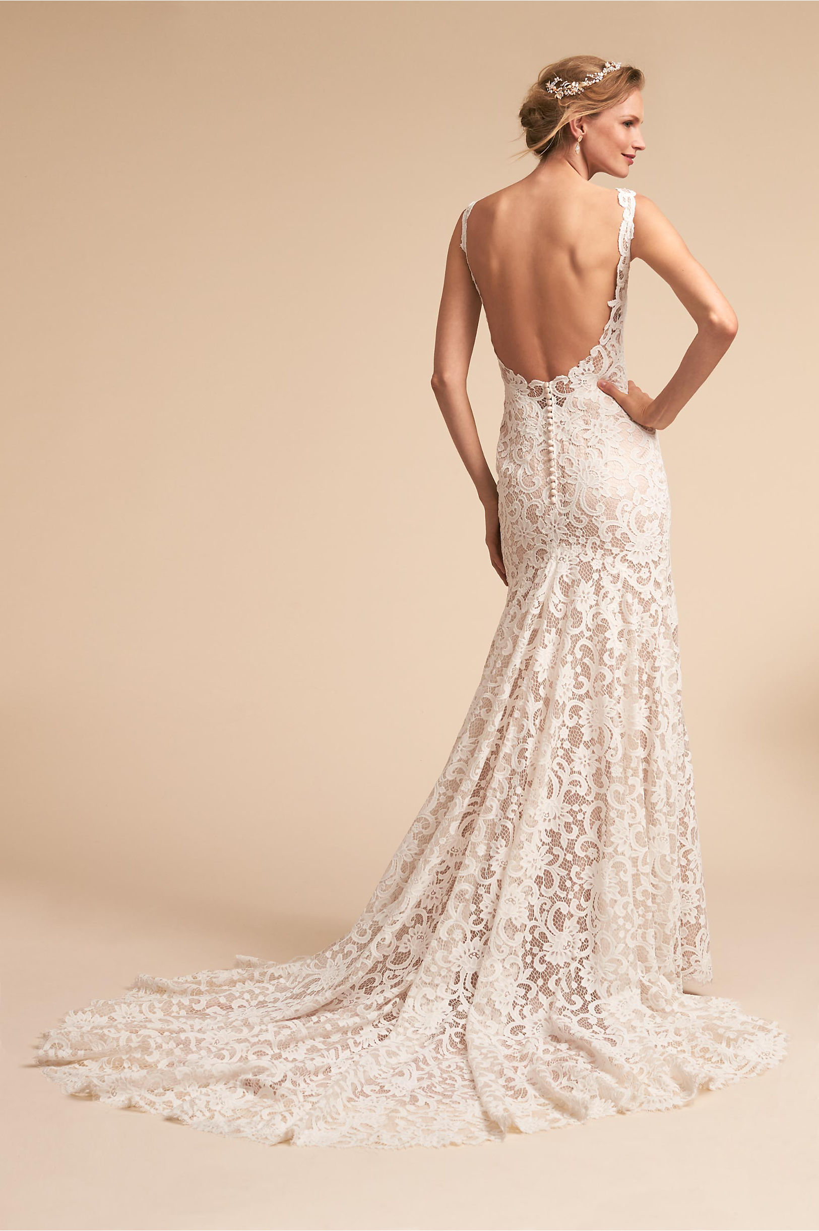 Back of Harlow wedding dress floral net lace v neck and open back eddy k bhldn spring 2018