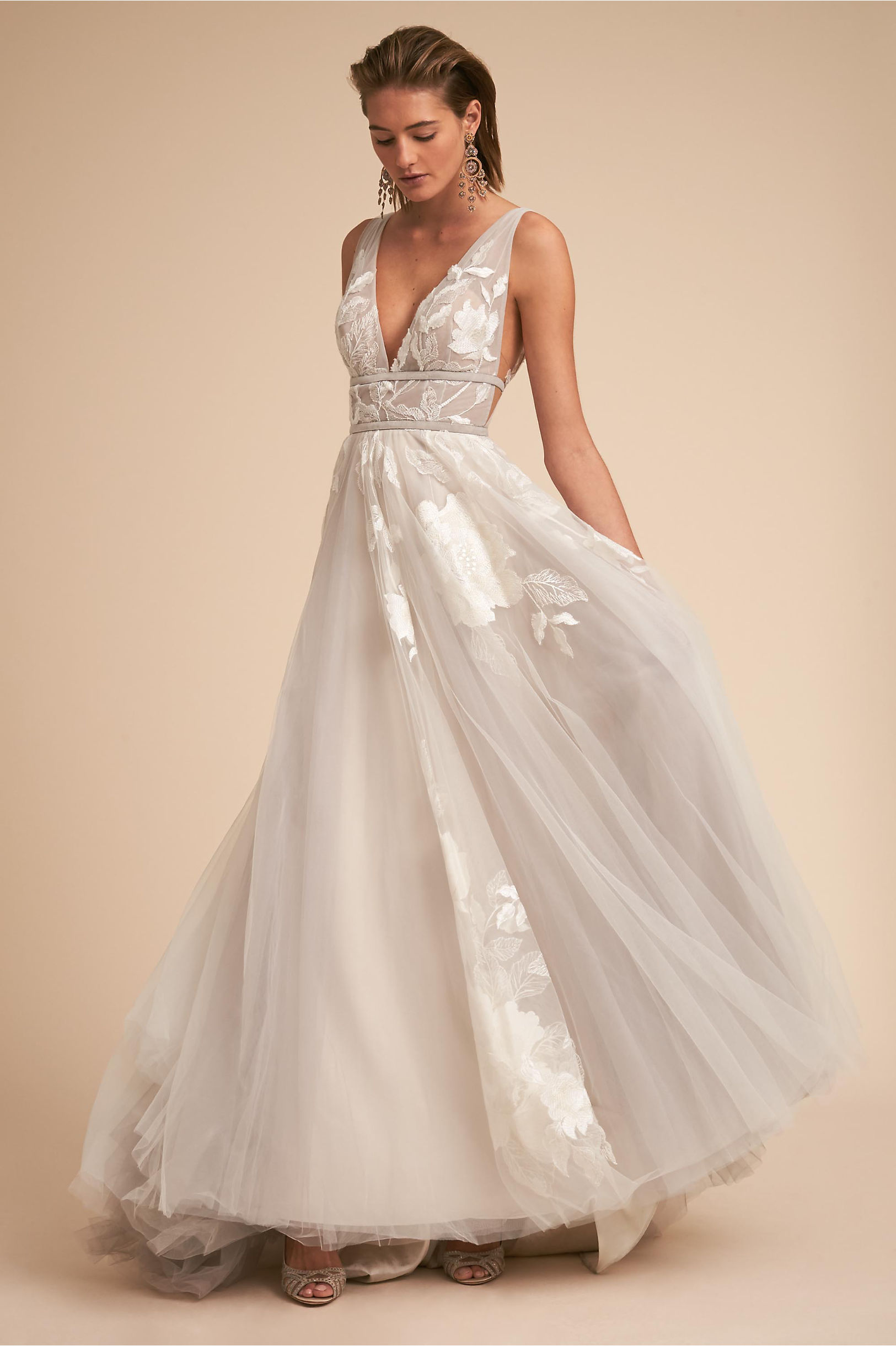 Hearst a line wedding dress flower applique deep neckline side cut outs ribbon sash waist willowby by watters bhldn spring 2018