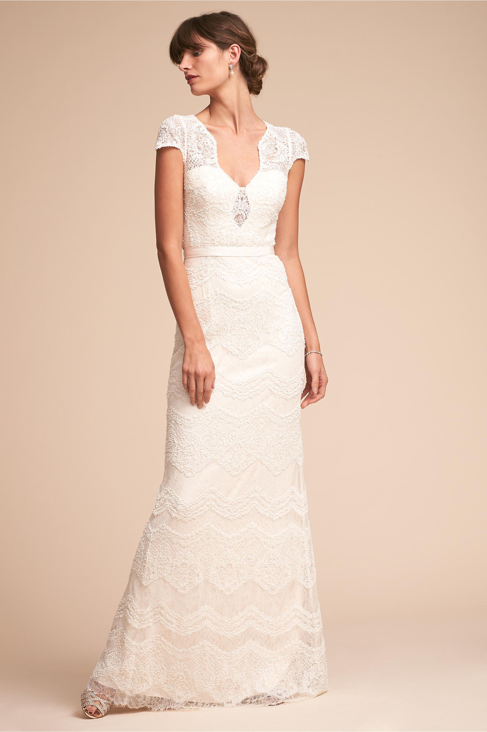 Katherine flower lace wedding dress keyhole bodice and unique neckline and back catherine deane bhldn spring 2018