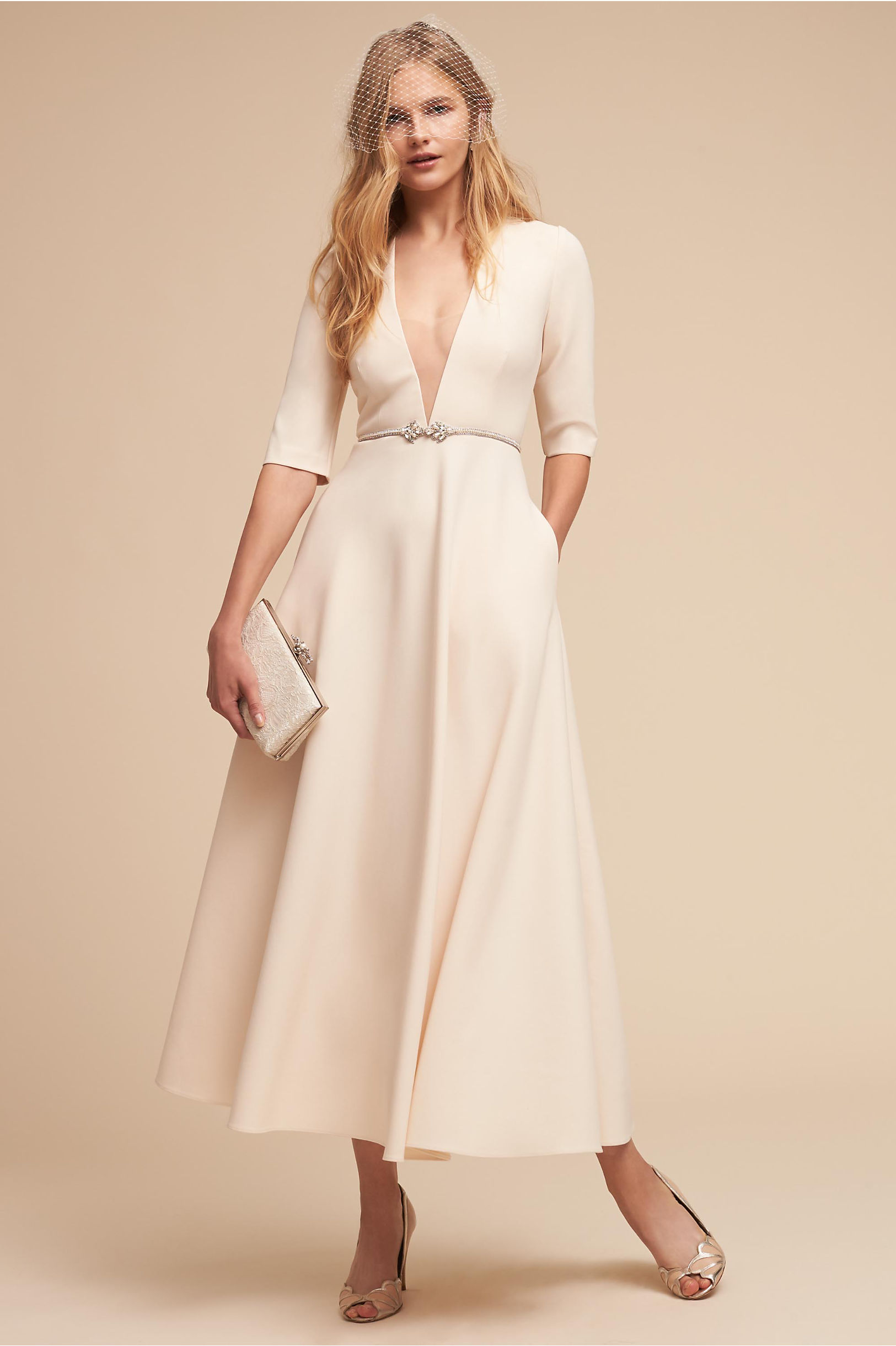 Kennedy tea length a line wedding dress v neck pockets jill jill stuart bhldn spring 2018