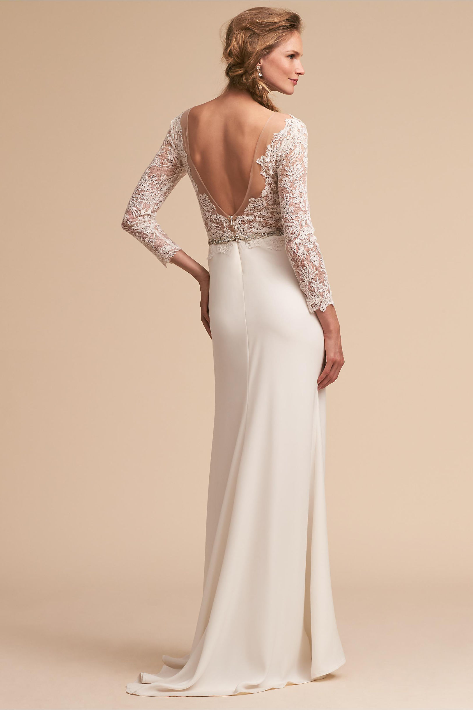 Back of Langston wedding dress flower lace bodice and sleek skirt long sleeves tadashi shoji bhldn spring 2018