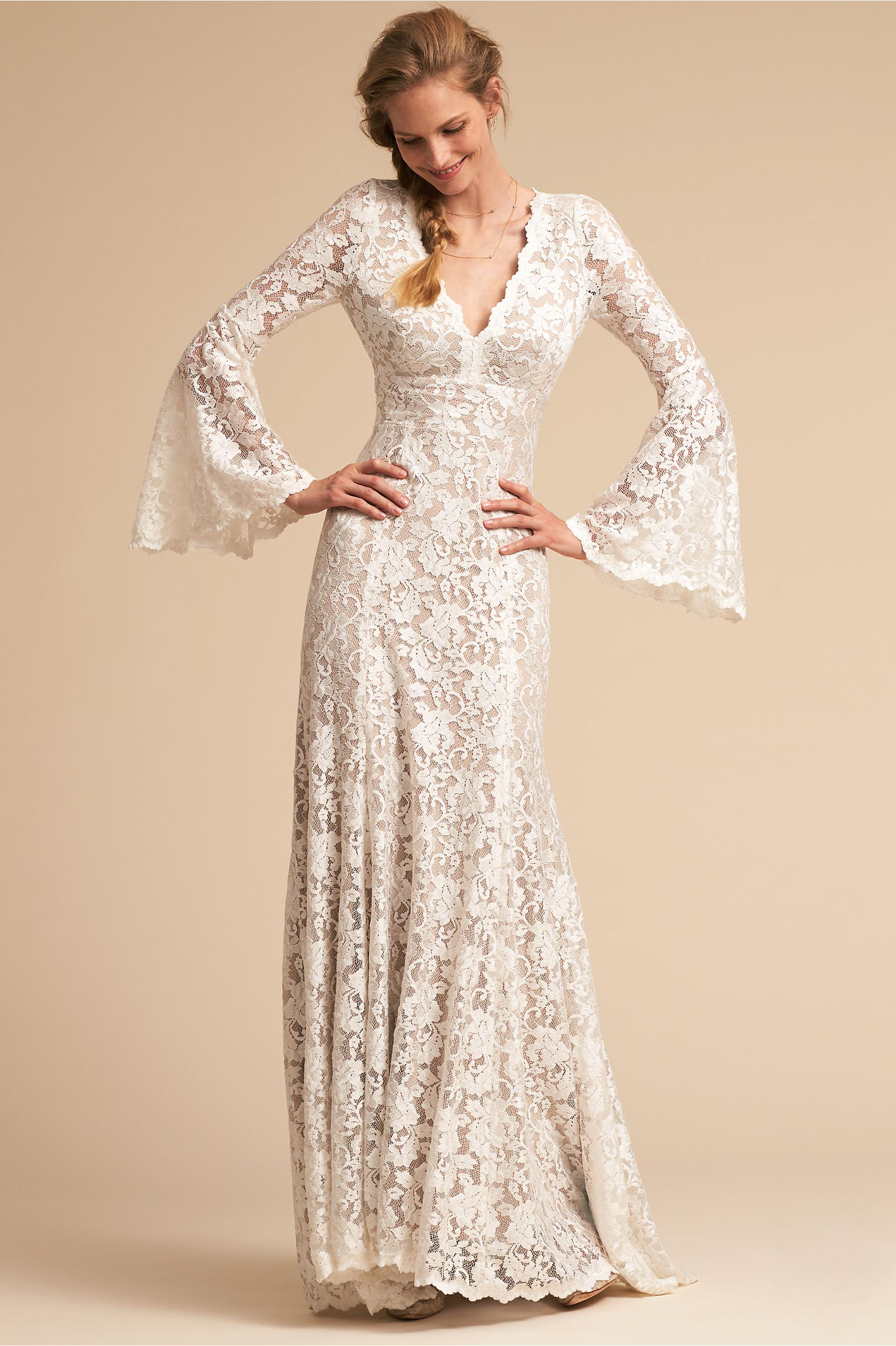 Lucca long sleeve flower lace wedding dress bell sleeves deep neckline willowby by watters bhldn spring 2018