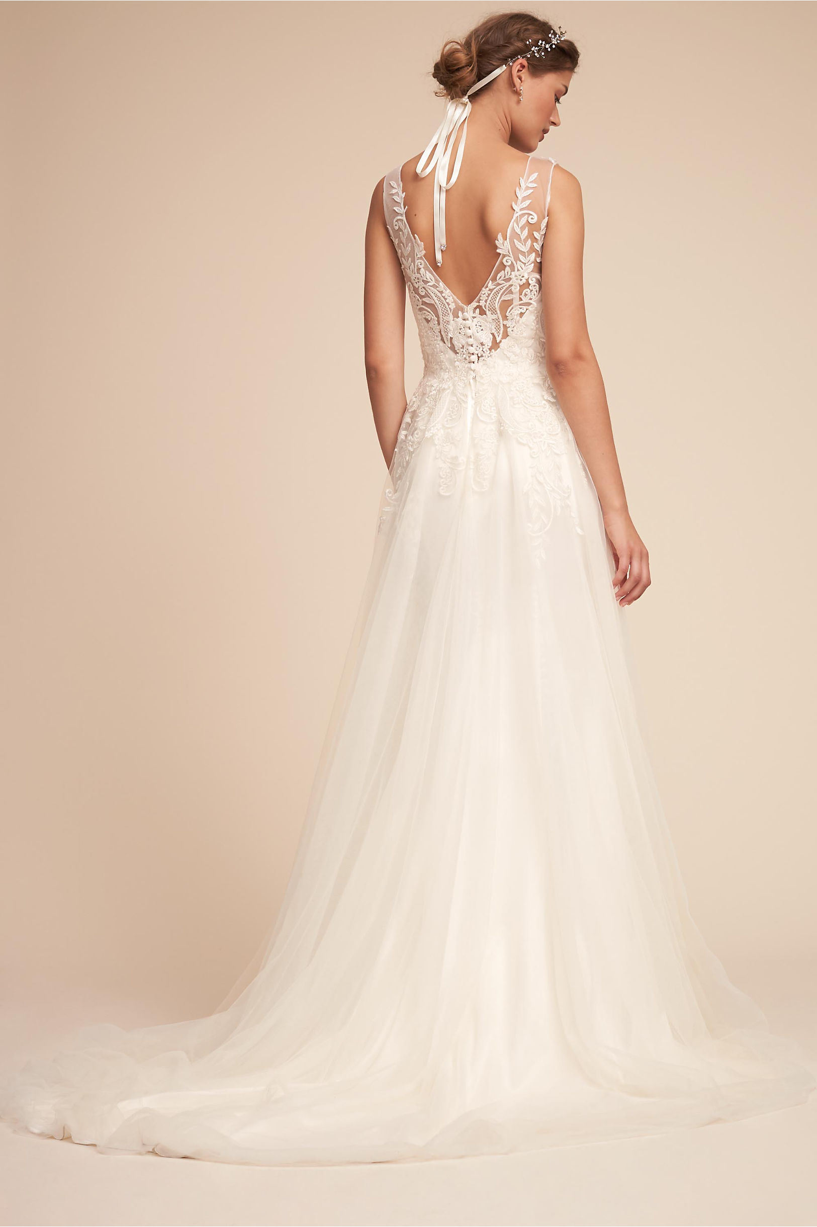 Back of Madrick wedding dress sweetheart neckline bodice and sheer straps a line skirt bhldn spring 2018