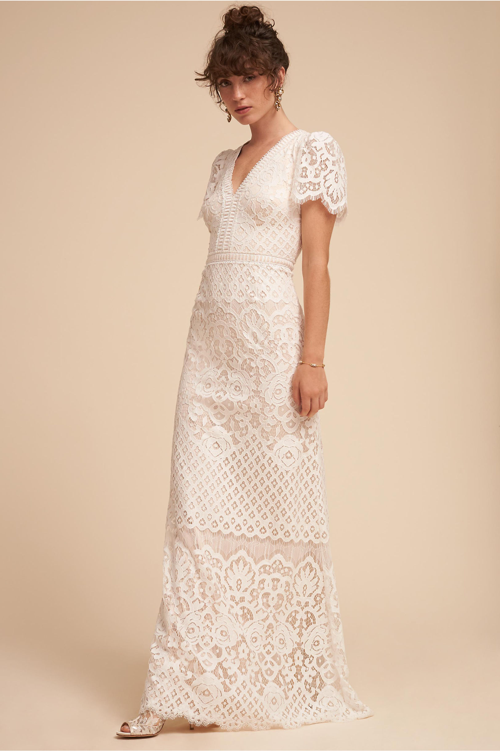 Minuet lace wedding dress short sleeves vintage style tadashi shoji bhldn spring 2018