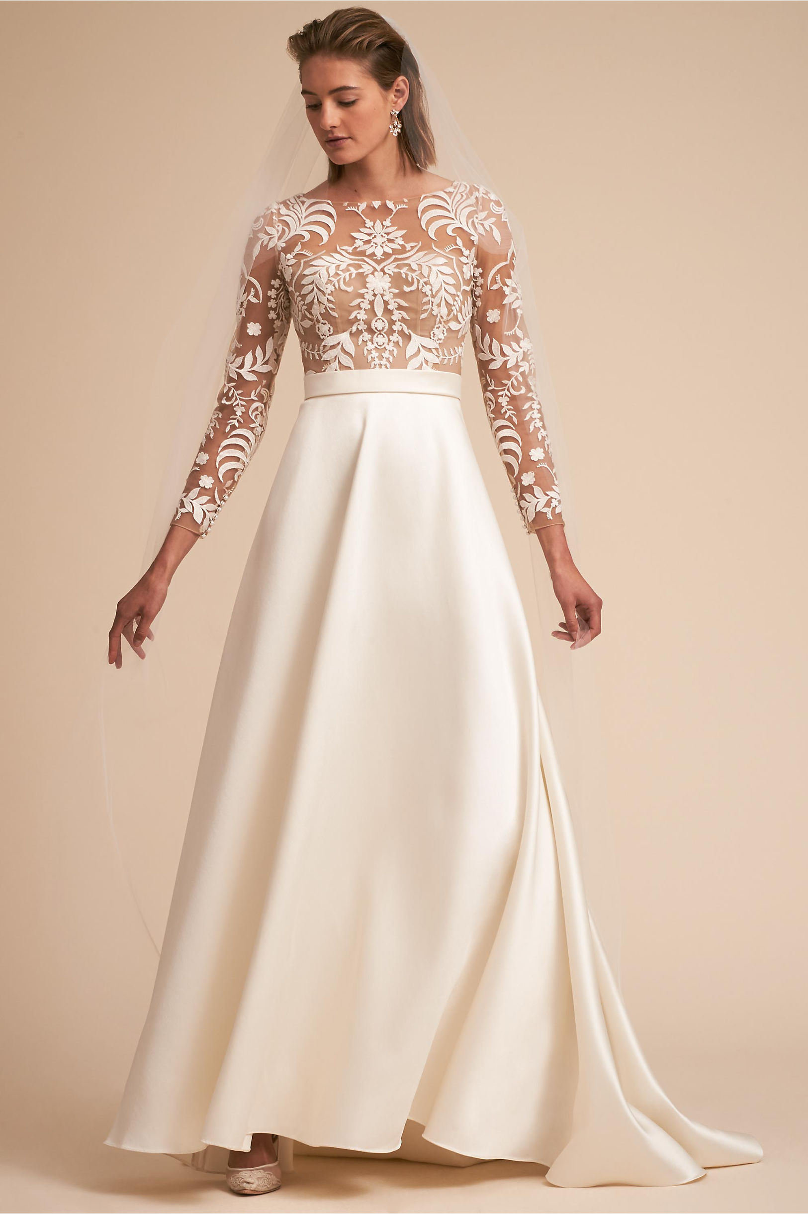 Serena wedding dress illusion bodice with boat neckline and a line skirt satin willowby by watters bhldn spring 2018
