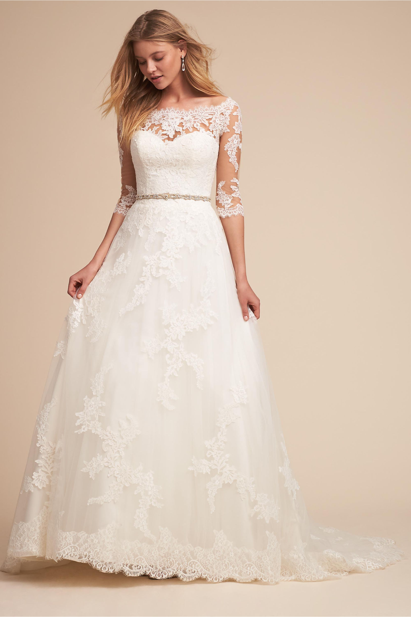 Windsor a line wedding dress with sheer off shoulder lace bodice pronovias bhldn spring 2018