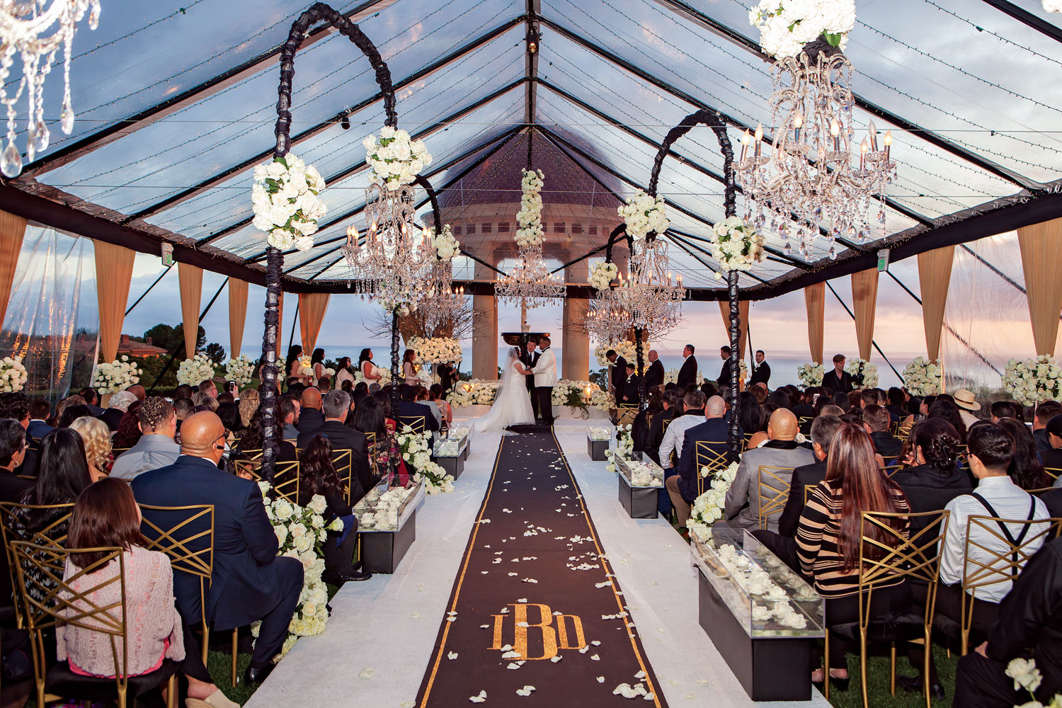 Inside Weddings winter 2018 issue preview real weddings wedding ideas sunset ceremony