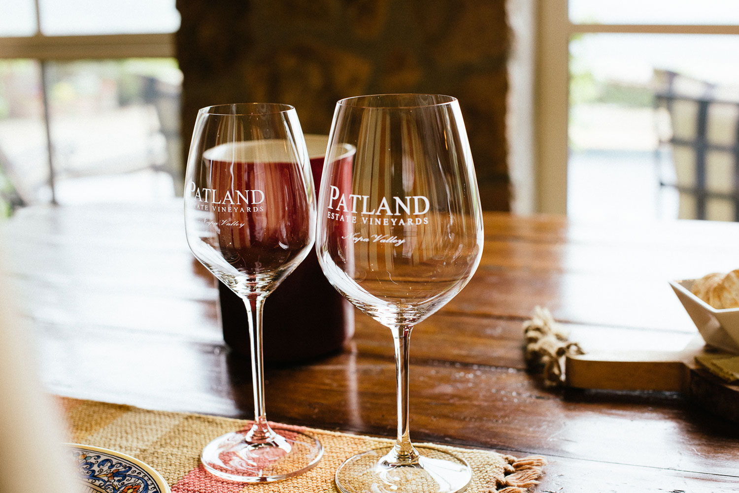 Wine glasses for wine tasting proposal catered lunch