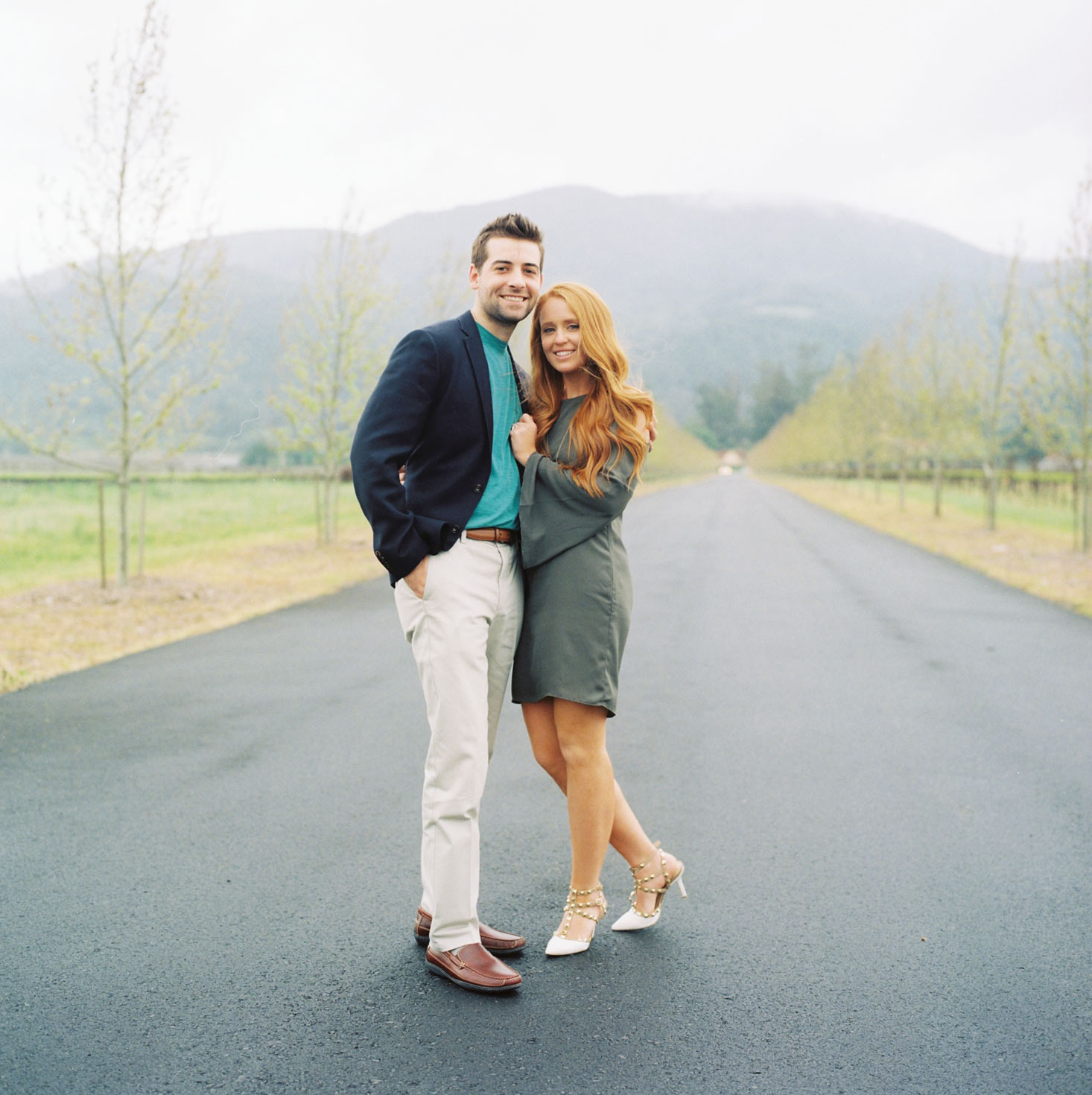 Bride and groom in Napa Valley after surprise wine tasting proposal