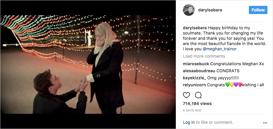 meghan trainor and daryl sabara from spy kids engagement proposal video