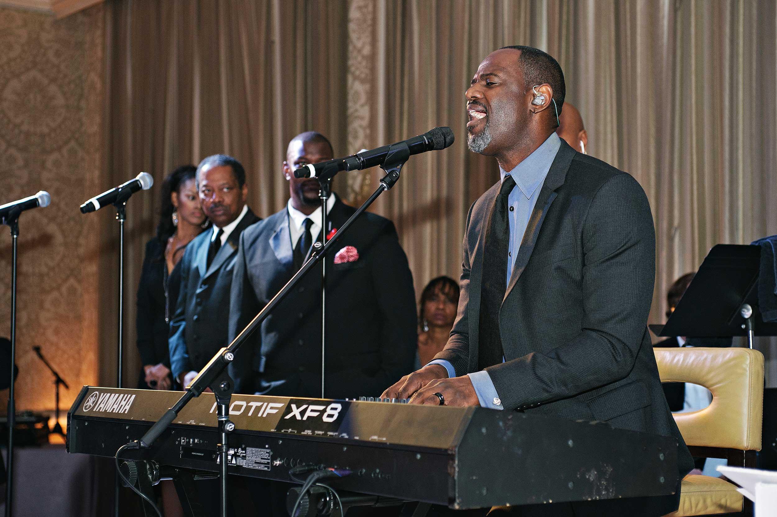 brian mcknight performs at wedding reception