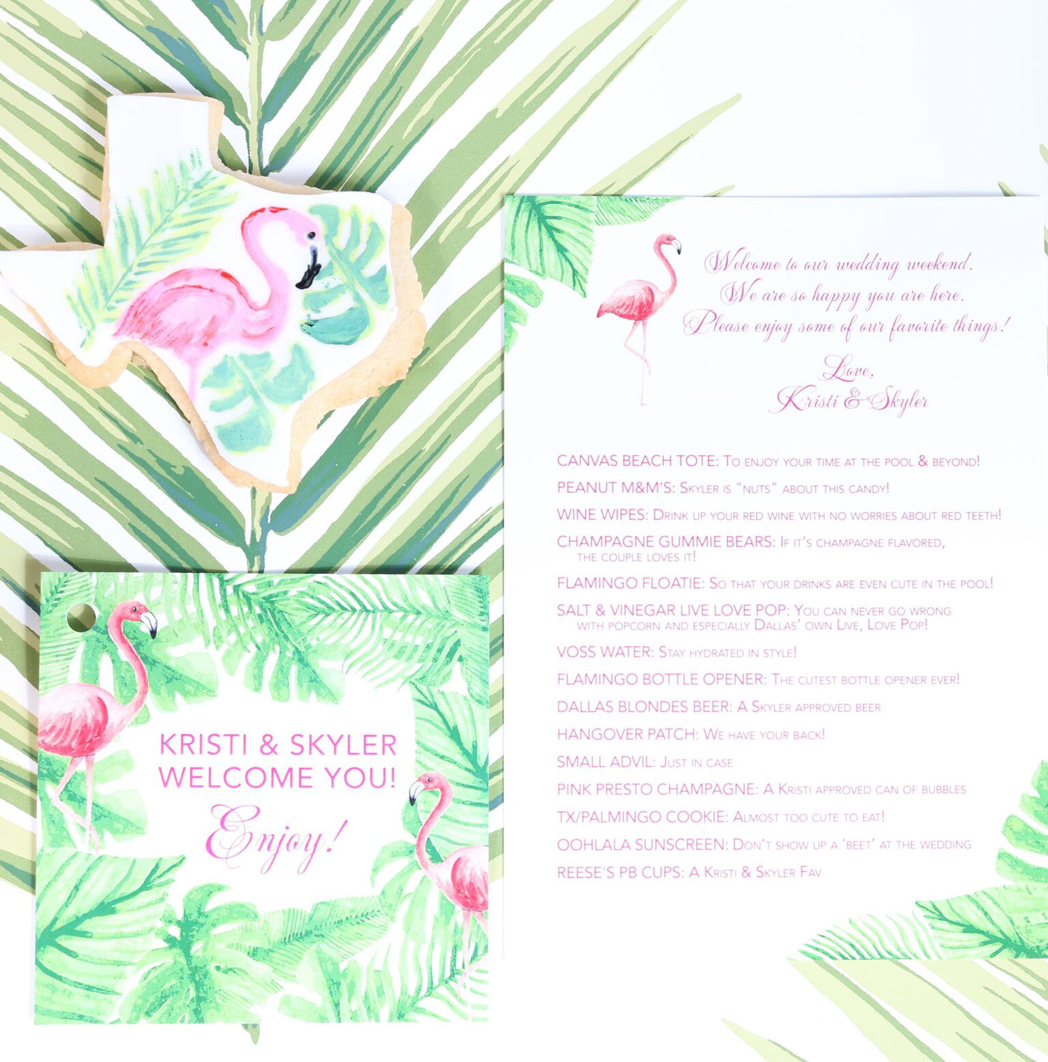 The welcome bag stationery insert describing products wedding welcome bag ideas The Welcome Bag Committee by Jordan Payne Events