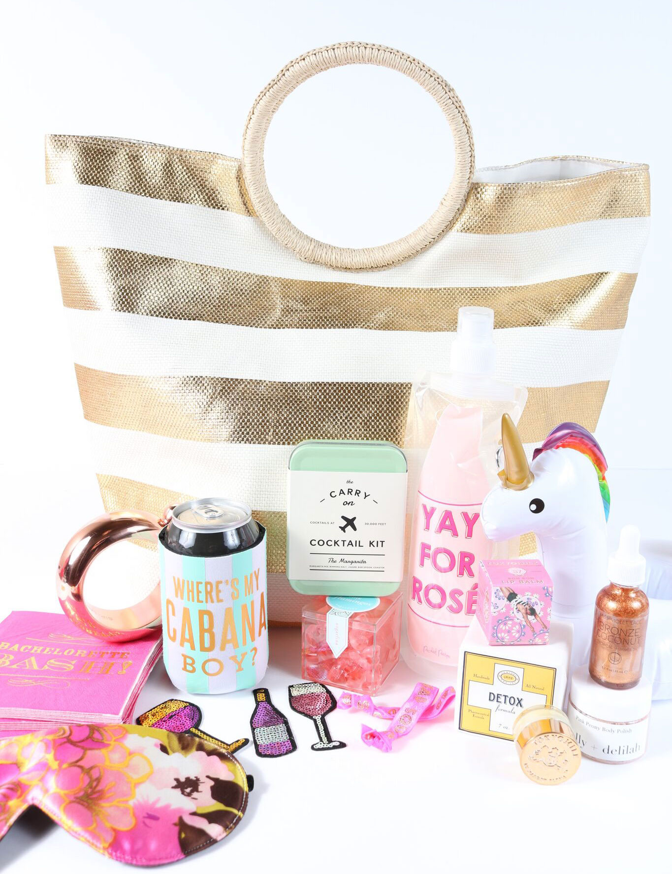gold tote wedding welcome bag ideas The Welcome Bag Committee by Jordan Payne Events