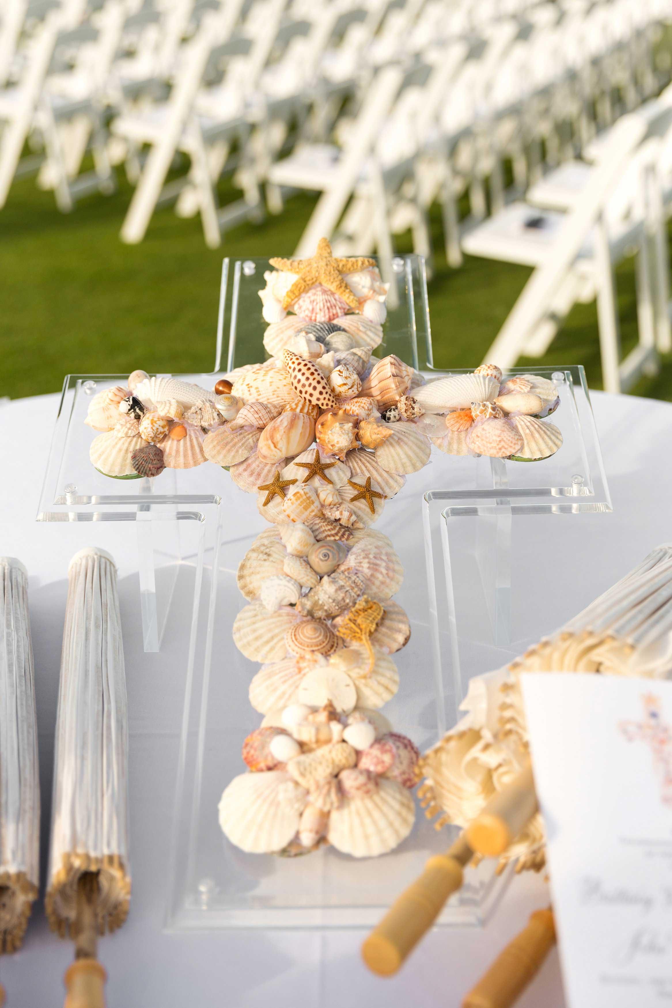 Seashell cross ceremony decoration destination wedding ideas