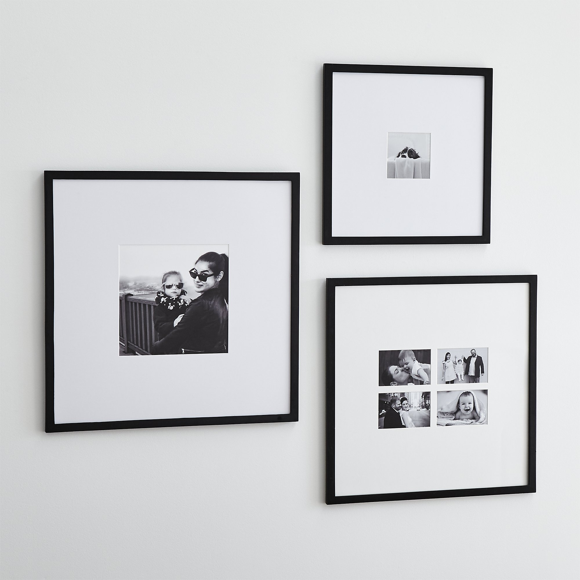 Matte black gallery wall frames from Crate and Barrel wedding registry ideas