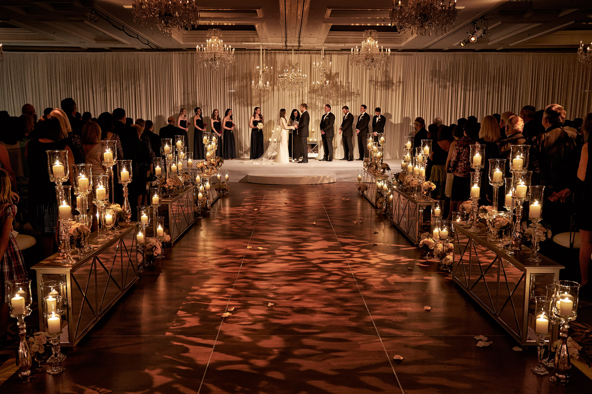 Light projections on aisle indoor wedding ceremony ideas