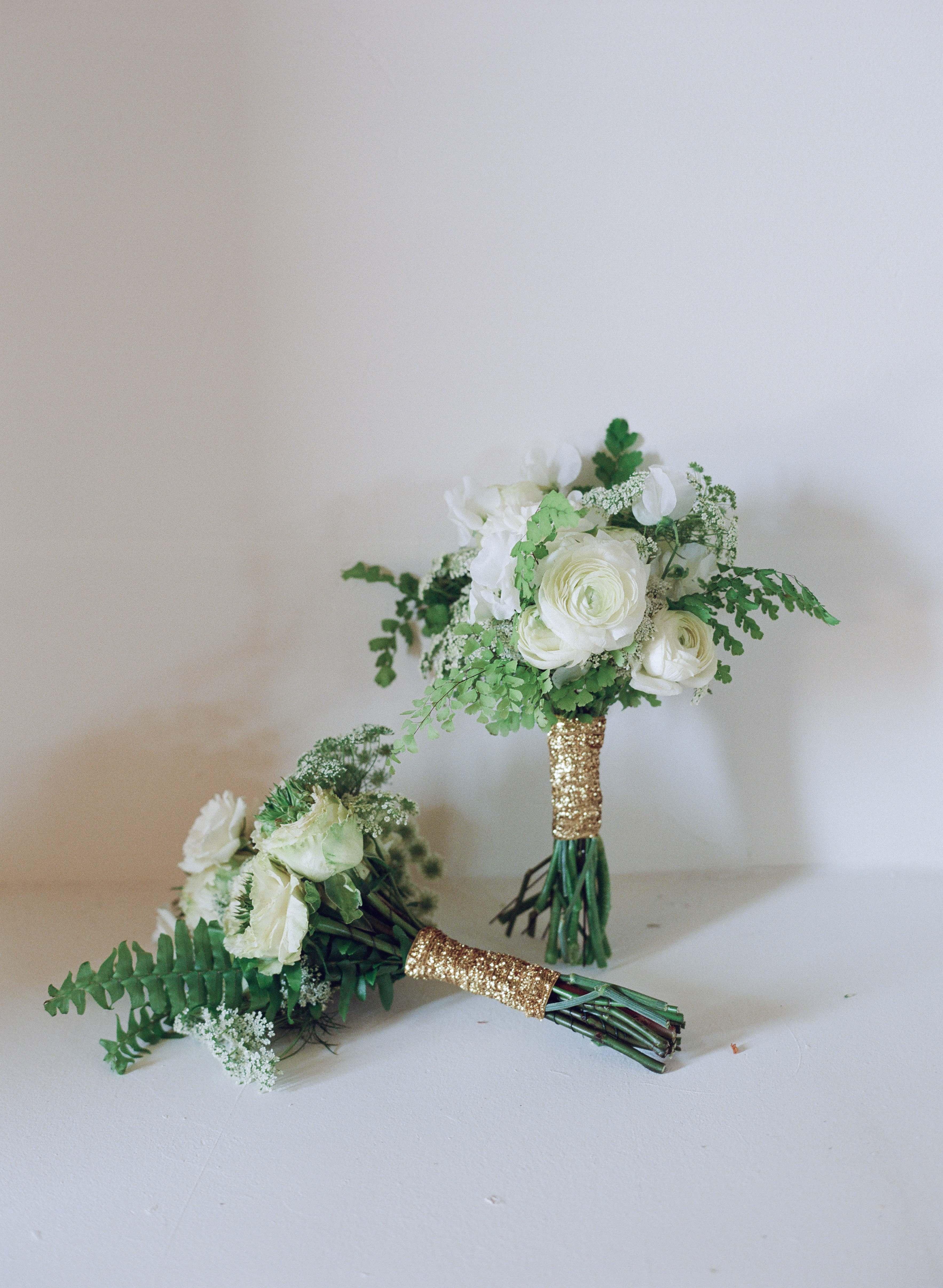Gold glitter bouquet ribbon wrap glitter wedding ideas