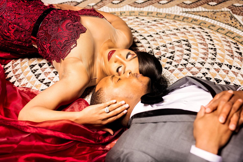 Kacey Angulo and Tony Sipp Houston Astros baseball player wedding engagement photo shoot session on floor close up