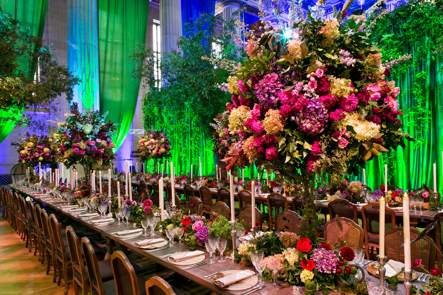 EVOKE Washington DC wedding planner colorful wedding reception design