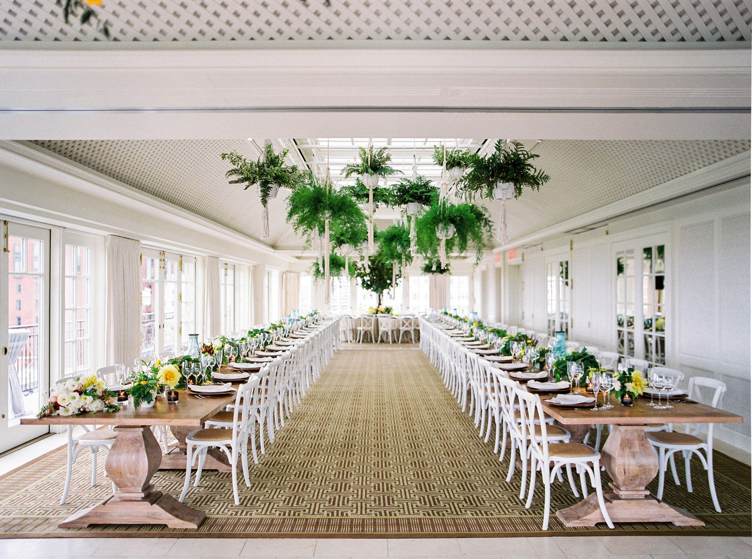 Two long king's table wedding reception