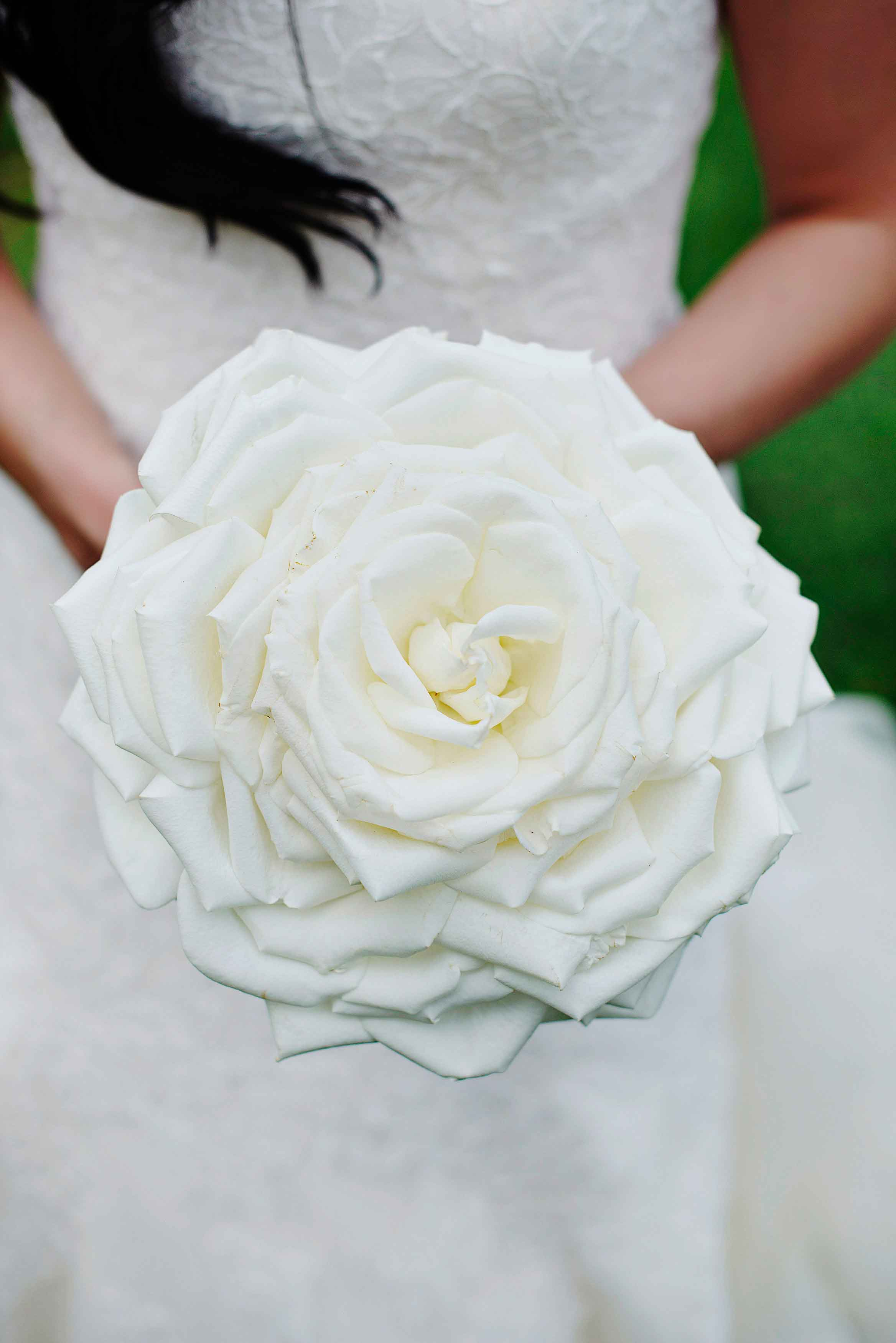 Composite bouquet style glamelia bouquet white flowers petals made to look like one big flower