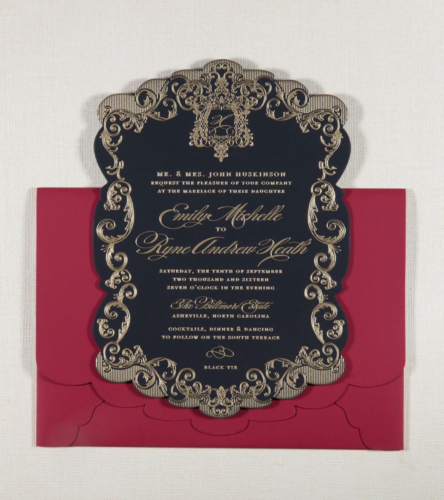 Black and gold wedding invitation dark decor ideas