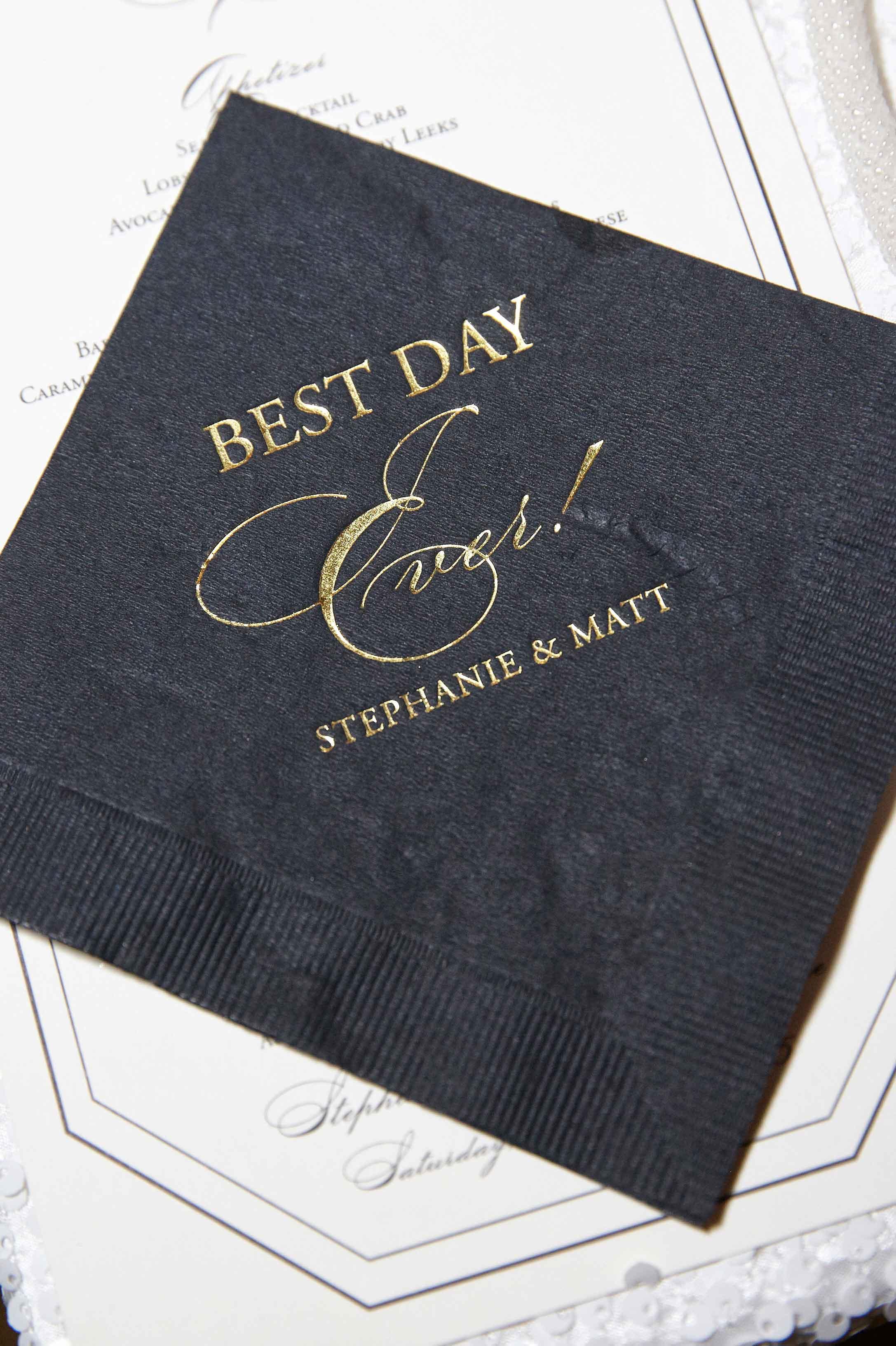 Black cocktail napkin beverage napkin gold lettering wedding ideas