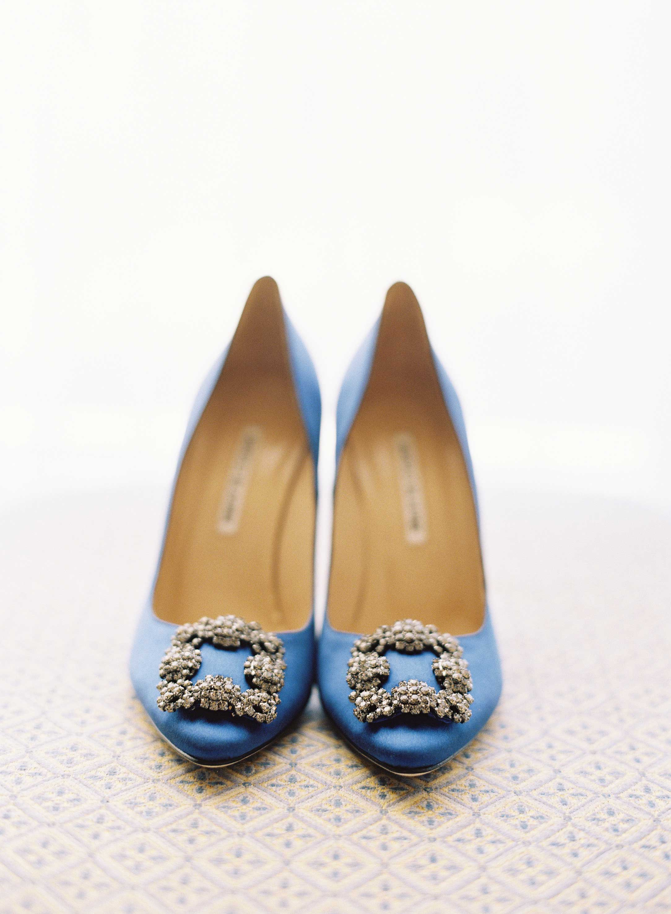 Bright blue royal blue wedding shoes with buckle heels that aren't boring
