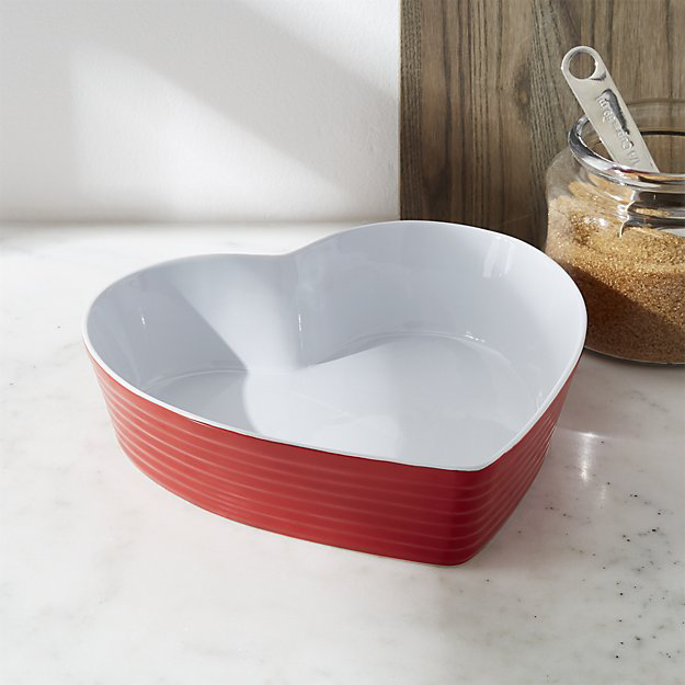 Red and white heart shape baking dish crate and barrel valentine's day gift ideas