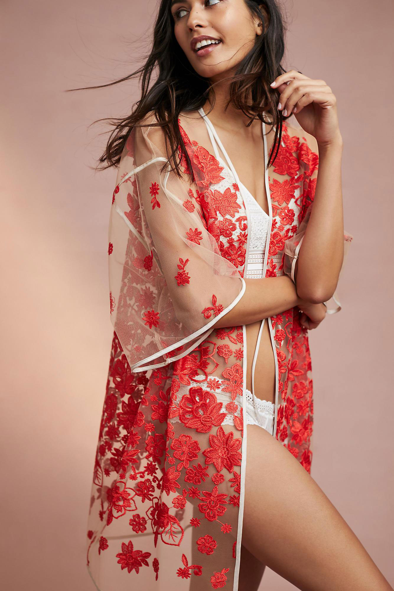 Anthropologie red rose embroidery robe valentine's day gift ideas