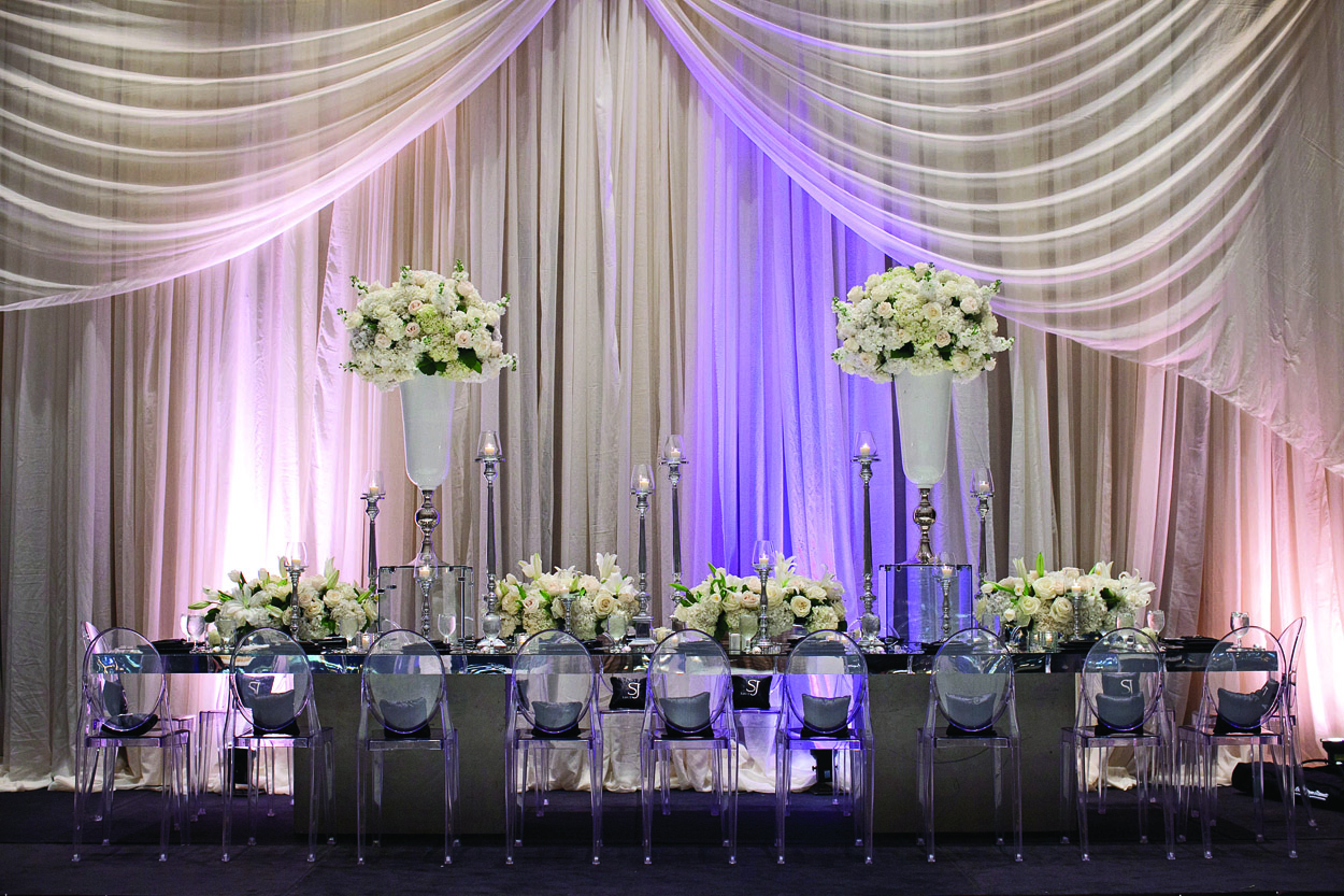 jarett dillard and sarita minor wedding, old hollywood glam wedding, ghost chairs and drapery