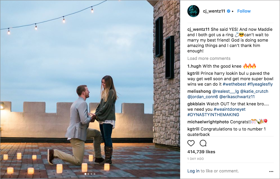 philadelphia eagles super bowl champion carson wentz proposes to madison orberg