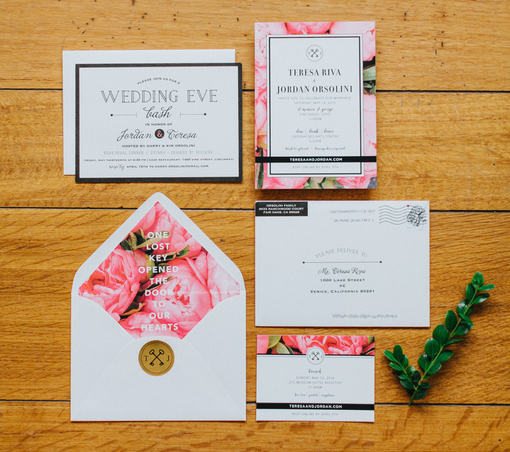 Pink flower envelope liner wedding invitations pink and red ideas