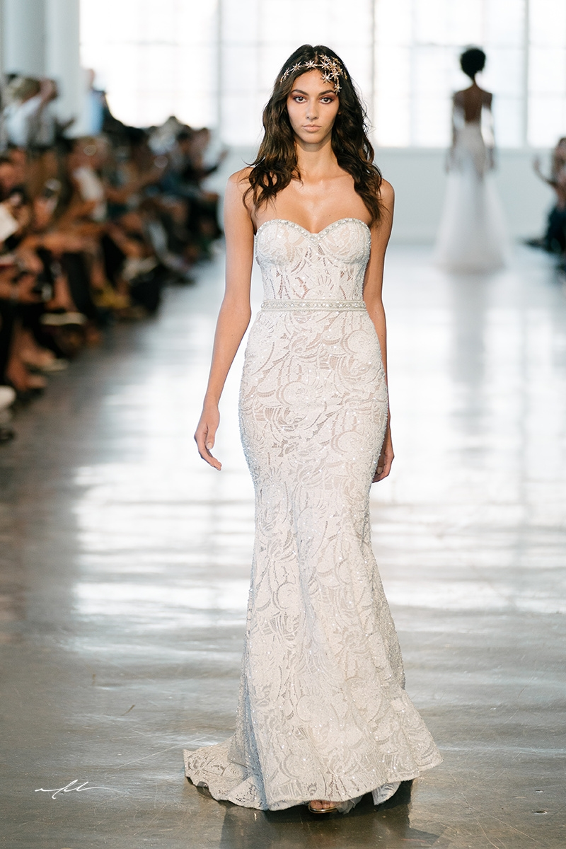 Slim fitting bridal gown wedding dress with sweetheart neckline by berta