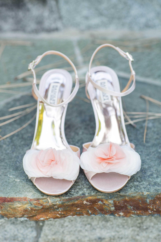 Light pink wedding shoes heels flower applique at toe