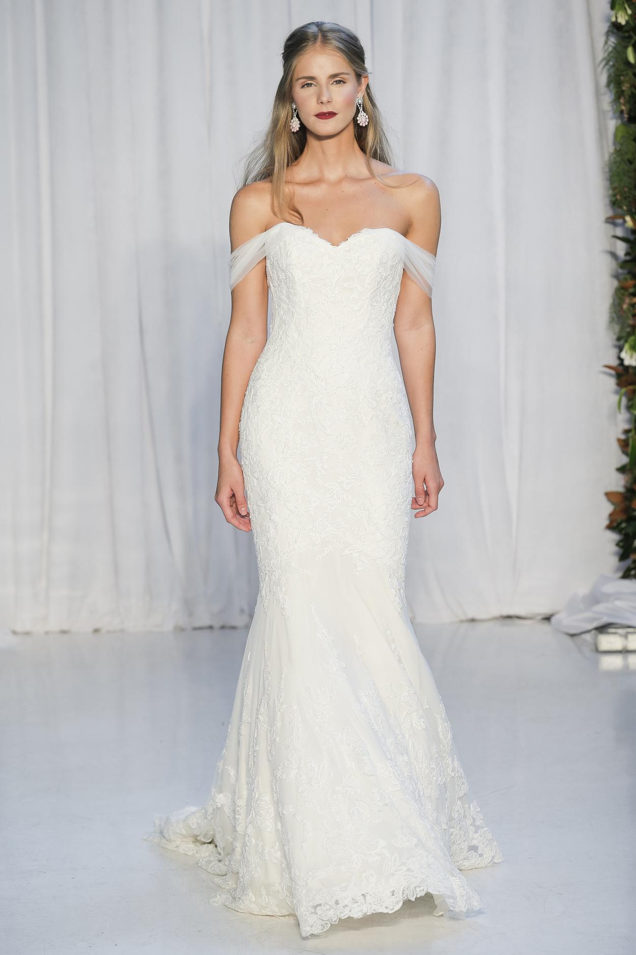 Raven sweetheart neckline wedding dress with off the shoulder straps Anne Barge
