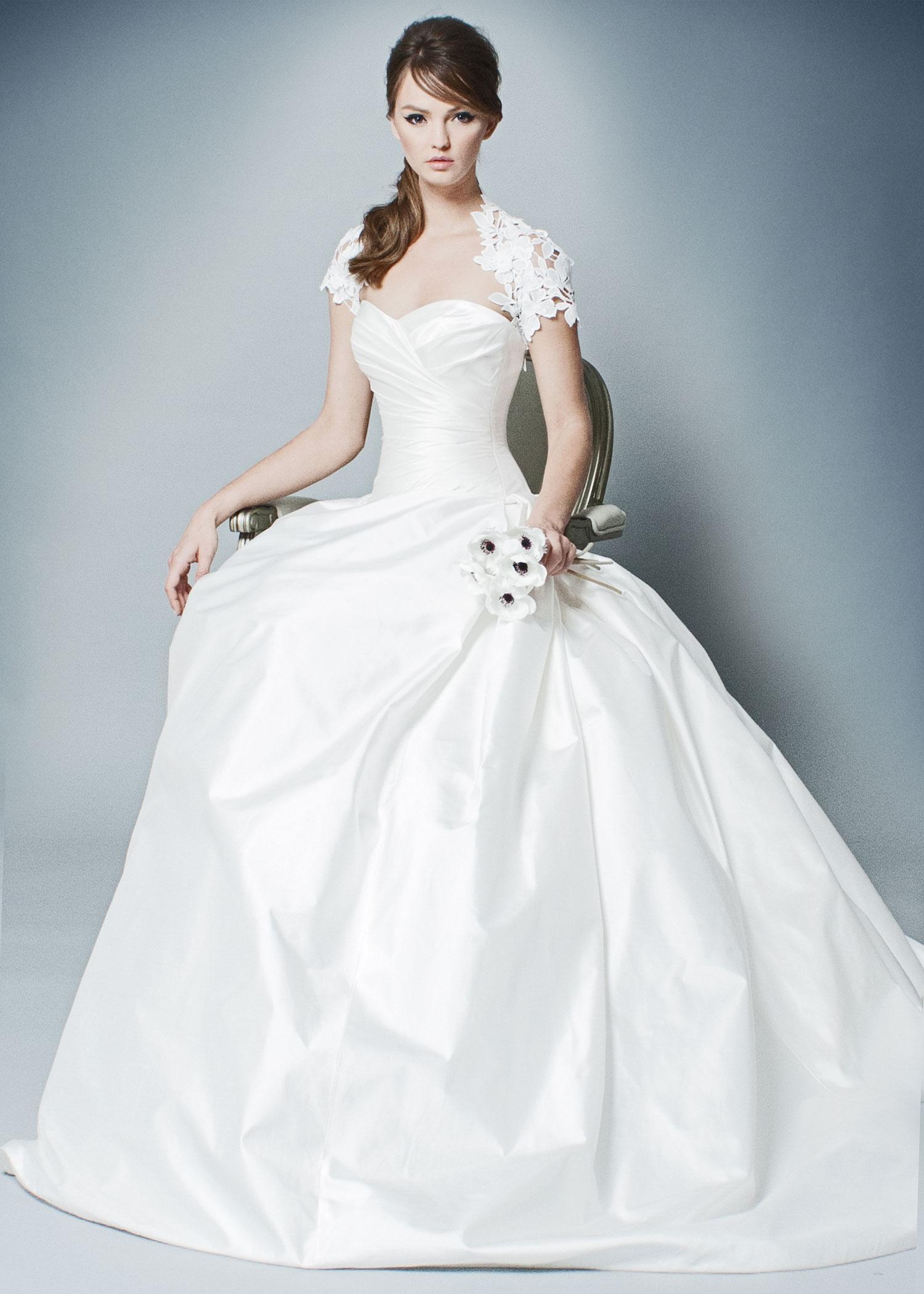 Ball gown with draped bodice sweetheart neckline and bolero Romona by Romona Keveza