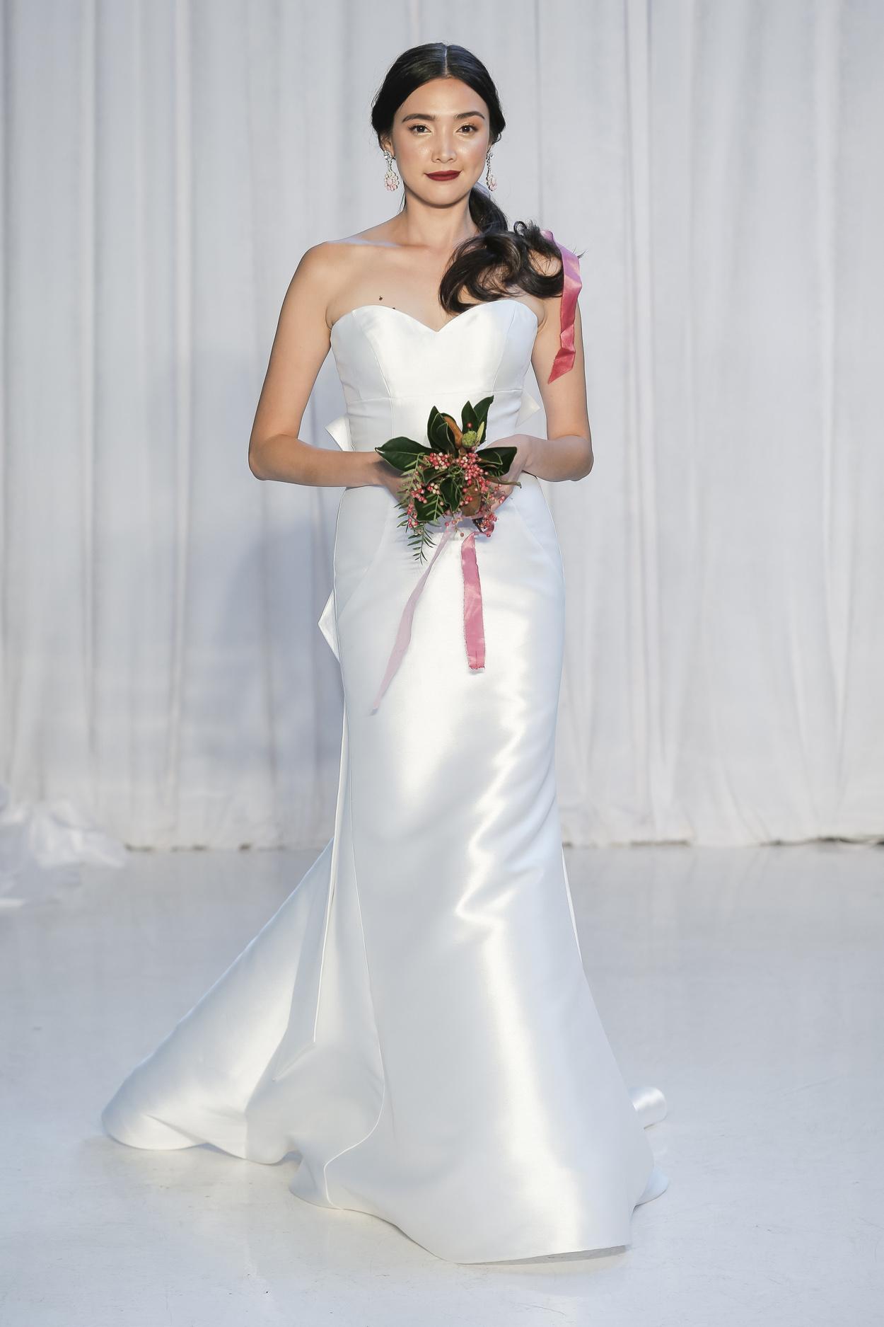 Vivienne satin silk wedding dress with sweetheart neckline by Anne Barge