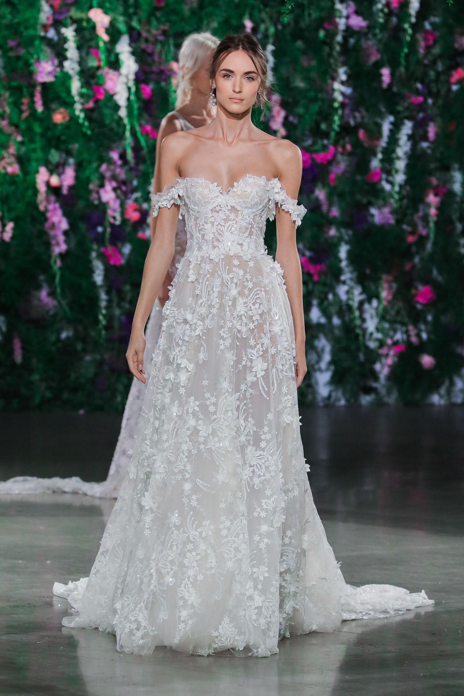 Off the shoulder wedding dress with sweetheart neckline by Gala by Galia Lahav
