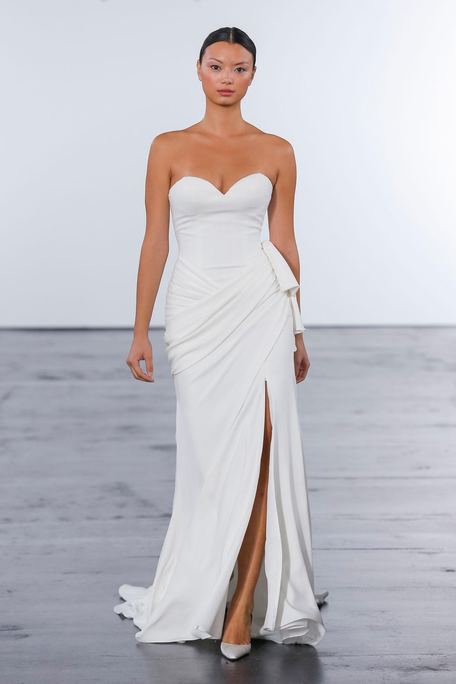Sweetheart neckline sleek wedding dress with high slit dennis basso for kleinfeld bridal